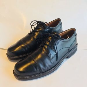 Men's Ecco cap toe 46 black leather lace up dress